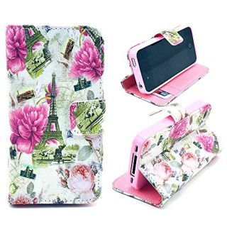 4s case,iphone 4s case, iphone 4 case, ARTMINE Vintage Rose Flower Eiffel Tower Durable Premium PU Leather Flip Folio Bo