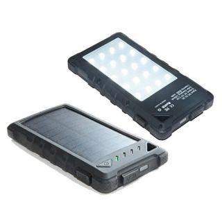XCEL Solar Power Bank Phone Charger 8,000mAh Rugged Outdoorsman Design 3-Mode Big 20 LED Work-Light Water Resistant, Dua