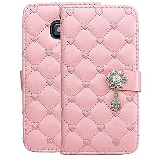 Fashion Crystal Flip Samsung Galaxy S6 Premium Synthetic Leather Unique Heart Pattern Wallet Case Cover For Samsung Gala