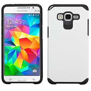 Asmyna Cell Phone Case for Samsung G530 (Galaxy Grand Prime) - Retail Packaging - Black/White