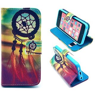 5C Case,iPhone 5C Case, ARTMINE Dream Catcher Durable Premium PU Leather Flip Folio Book Style Wallet Protective Skin Po