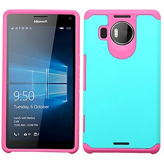 Asmyna Cell Phone Case for Microsoft Lumia 950 XL (Cityman) - Retail Packaging - Green/Pink/Teal