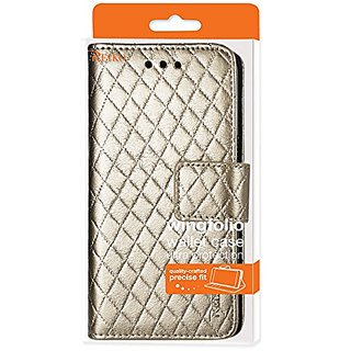 Reiko Wallet/Folio & Card Holder Case for Samsung Galaxy Grand Prime G530 - Retail Packaging - Champagne