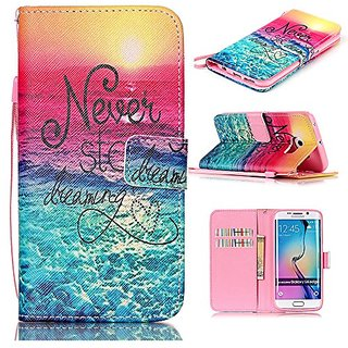 S6 Edge case,Galaxy S6 Edge Case,Never Stop Learning Pattern Wristlet Slim PU Leather Case Wallet w/ Magnetic Closure Ca