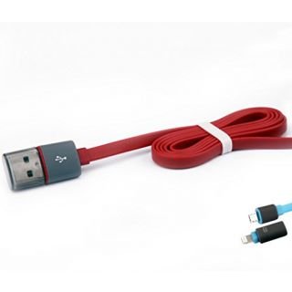 Premium 2in1 Micro USB Lightning Colorful Flat Silicone Charging Cable 15 Inches Compatible With Samsung Galaxy And All