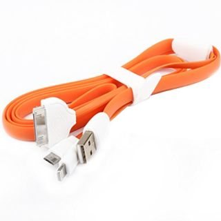 Colorful 3in1 Micro USB Lightning Flat Silicone Charging Cable 4 feet Compatible With Samsung Galaxy And All Micro USB D