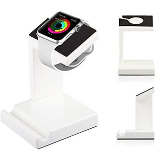 Lilware Universal Dual Stand for Apple Watch 38 / 42 mm and Apple iPhone 6 6S 6 Plus 6S Plus Models or Other Devices. Wh