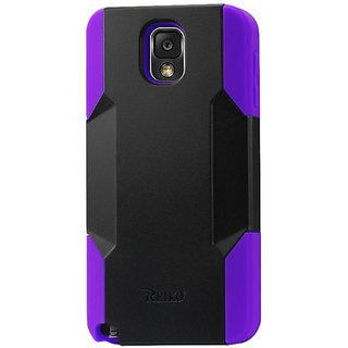 Reiko Silicon Case and Plastic Cover for Samsung Galaxy Note 3 - Retail Packaging - Purple Black