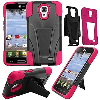 HR Wireless T-Stand Cover Case for LG Access LTE L31G L31L L31C F70 - Retail Packaging - Black/Hot Pink