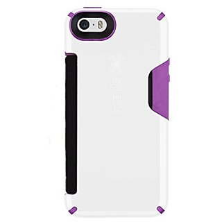 Speck Products CandyShell Card Case for iPhone 5/5s, White/Revolution Purple