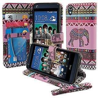 Nextkin HTC Desire 626 626S Leather Pouch Wallet Card With TPU Gel Protector Cover Case - Pink Elephant Aztec