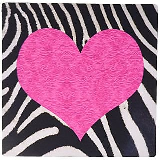 3dRose LLC Punk Rockabilly Zebra Animal Stripe Pink Heart Print - Mouse Pad (mp_20393_1)
