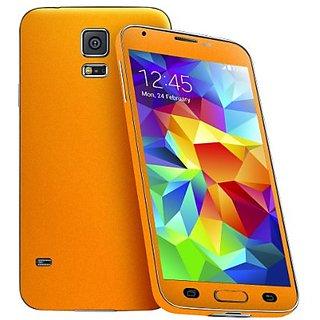 Cruzerlite Antibacterial Skin for the Samsung Galaxy S5 - Retail Packaging - Neon Orange (Full Kit - Back,Front,Sides)