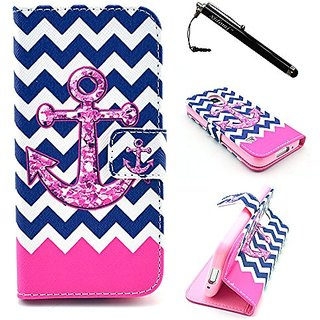 S5 Mini Case, Galaxy S5 Mini Case, Anchor PU Leather Flip Wallet Protective Skin Case Magnetic Clasp with Dust plug Styl