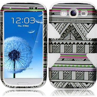 HR Wireless Dynamic Protective Cover for Samsung Galaxy S3 - Retail Packaging - Antique Aztec Tribal/White