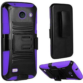 HR Wireless Huawei Tribute Fusion 3 Y536 Side Stand with Holster Case - Retail Packaging - Black/Purple