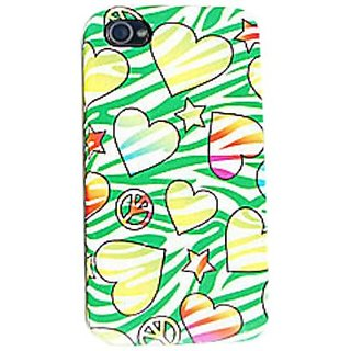 Cell Armor IPHONE4G-PC-JELLY-TE427 Hybrid Jelly Case for iPhone 4/4S - Retail Packaging - Hearts, Stars and Peace Signs