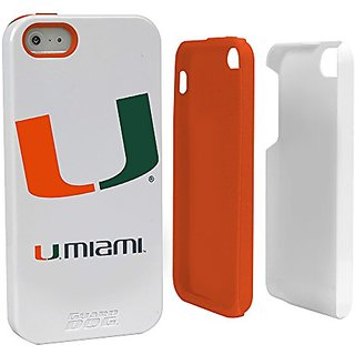 NCAA Miami Hurricanes Hybrid Case for iPhone 5/5s, White, One Size