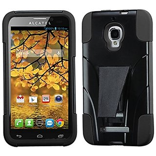 MYBAT Advanced Armor Kickstand Protector Cover for Alcatel 7024W One Touch Fierce - Retail Packaging - Black Inverse