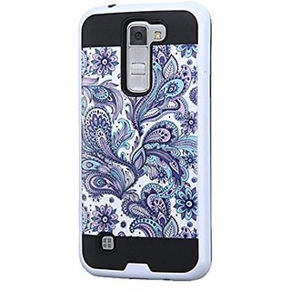 Asmyna Cell Phone Case for LG K7/Tribute 5 - Retail Packaging - Black/Purple