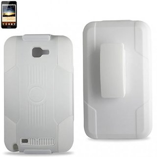 Reiko RKSLCPC09-SAMI9220WH Silicone Case with Hard Cover Holster Combo for Samsung Galaxy Note - 1 Pack - Retail Packagi