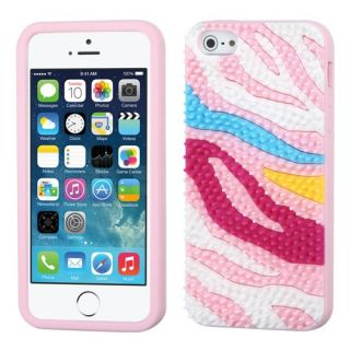 MyBat Colorful Zebra Skin Spike/Pastel Skin Cover with Package for Apple iPhone 5S/5 - Retail Packaging - Pink