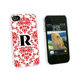 Graphics and More Letter R Initial Damask Elegant Red Black White Snap-On Hard Protective Case for Apple iPhone 4/4S - N