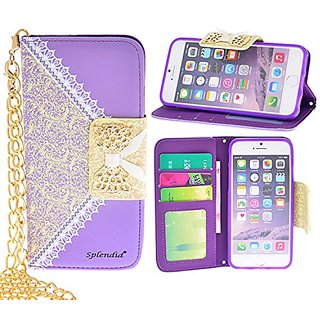 iPhone 6/6s plus case, purple luxury elegant floral pattern bow lace wallet design pu leather wallet case with gold chai