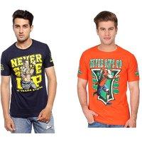 Trendmakerz Blue and Orange Tshirts Combo