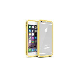 INSTEN Clear TPU Bumper Case with Aluminum Button for Apple iPhone 6 - Retail Packaging - Clear/Yellow