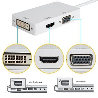 Xgeek® Three-in-one Mini Display Port Thunderbolt Port to DVI VGA HDMI TV AV HDTV Adapter Cable Cord Conventer for