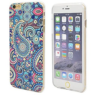 iPhone 6 Case, 6s Case, FYee TPU Slim Flexible Dual TPU Rubber Back Cover Case with Blue Paisley Pattern Design for iPho