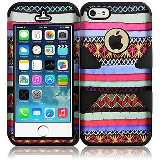 HR Wireless Dynamic Hybrid Carrying Case for iPhone 5/5S - Retail Packaging - Colorful Indian Pattern Plus Black