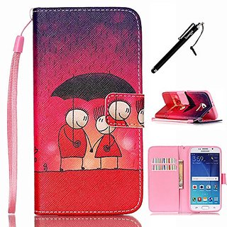 S6 Case, Galaxy S6 Wallet Case, UrSpeedtekLive Lover Pattern Premium PU Leather Flip Wallet Case Cover w/ Magnetic Closu