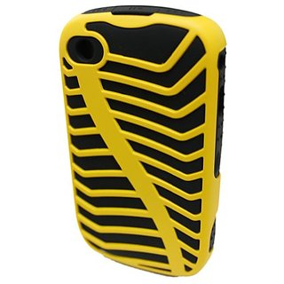 GO BC342 Ridge-Like Silicone Protective Hard Case for Blackberry 8520/8530 - 1 Pack - Retail Packaging - Yellow