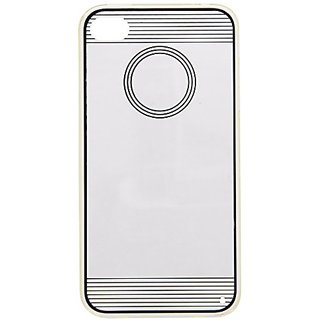 JUJEO Circle Pattern 0.3mm Slim Acrylic and TPU Skin Case for iPhone 4s 4 - Non-Retail Packaging - Black