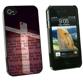Graphics and More Cross and Bible Verse John 3-16 For God So Loved the World - Snap On Hard Protective Case for Apple iP