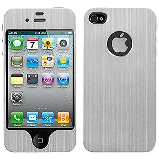 MyBat Brushed Metal Decal Shield Diamante Phone Protector Cover for Apple iPhone 4S/4 - Retail Packaging - Silver