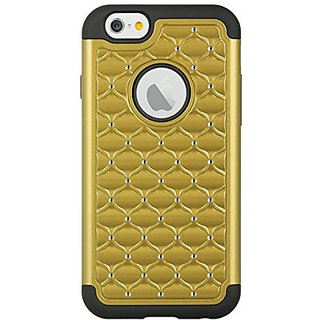 SumacLife Elegant Diamond Back Cover with Additional Silicone Skin for Apple iPhone 6 - Retail Packaging - Gold/Black