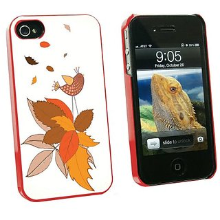 Graphics and More Fall Changing Leaves and Singing Bird - Snap On Hard Protective Case for Apple iPhone 4 4S - Red - Car