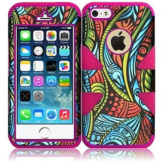 HR Wireless Dynamic Hybrid Carrying Case for iPhone 5/5S - Retail Packaging - Seamless Antique Swirls Plus Hot Pink