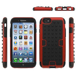 Zizo Rubberized Dotted Hybrid PC + TPU Cover for iPhone 6 - Retail Packaging - Red/Black