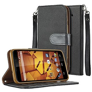 SOJITEK ZTE Max+ Premium Two Tone Series Black Color Leather Wallet Case with Stand/ Removable Strap, Card & Money Pocke
