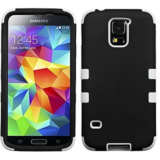 MyBat Samsung Galaxy S5 TUFF Hybrid Phone Protector Cover - Retail Packaging - Rubberized Black/Solid White