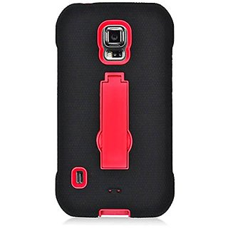 Eagle Cell Samsung Galaxy S5 Active Hybrid Skin Case with Stand - Retail Packaging - Black/Red Verticle Stand