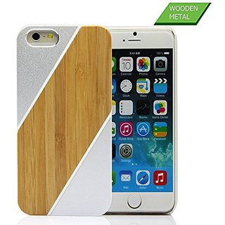 Iphone 6/6s Case, YF-WOOD Unique Iphone 6s Wood Case with Luxury New Design Metal Bumper Frame Protective Hard Back Cove