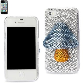 Apple 3D Diamond Protector Cover for iPhone 4S - Retail Packaging - Mushroom Blue