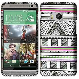 HR Wireless HTC One M9 - Rubberized Design Case - Carrying Case - Retail Packaging - Antique Aztec Tribal