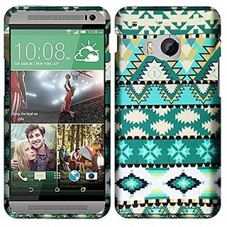 HR Wireless HTC One M9 - Rubberized Design Case - Carrying Case - Retail Packaging - Mint Green Aztec