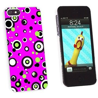 Graphics and More Circles Dots Pink - Snap-On Hard Protective Case for Apple iPhone 5/5s - Non-Retail Packaging - White